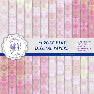 Rose Pink Watercolor Digital Papers